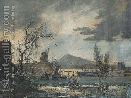 A harbour seen in winter, under a stormy sky by Alexandre-Jean Noel - Reproduction Oil Painting