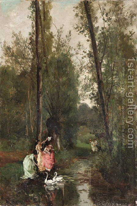 Feeding the swans by Alexandre Rene Veron - Reproduction Oil Painting