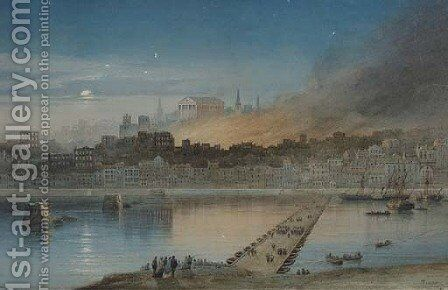 The city ablaze by Alexandre T. Francia - Reproduction Oil Painting