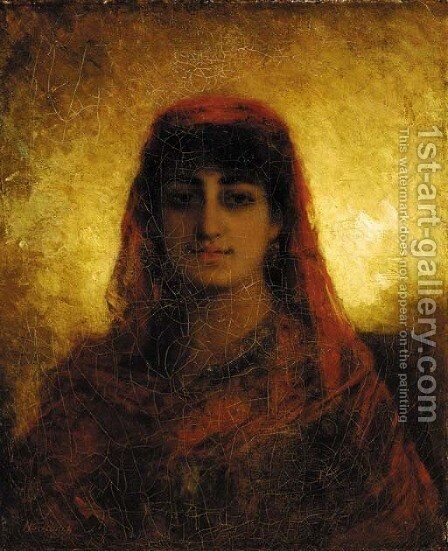 A veiled beauty by Alexei Alexeivich Harlamoff - Reproduction Oil Painting