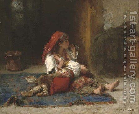 Blowing bubbles by Alexei Alexeivich Harlamoff - Reproduction Oil Painting