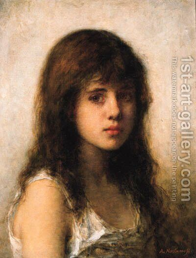 Young girl 3 by Alexei Alexeivich Harlamoff - Reproduction Oil Painting