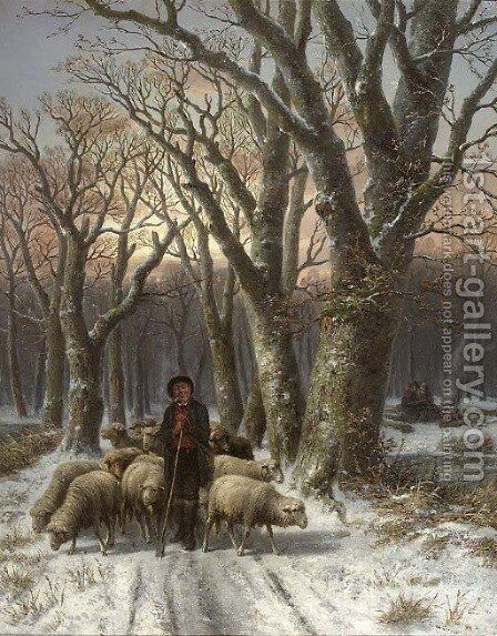 A frosty forest with a shepherd and his flock by Alexis de Leeuw - Reproduction Oil Painting
