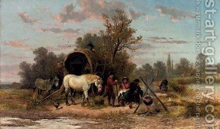 A Gipsy family preparing supper by Alexis de Leeuw - Reproduction Oil Painting