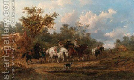 The horse station by Alexis de Leeuw - Reproduction Oil Painting