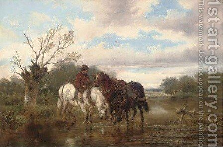 Watering the team by Alexis de Leeuw - Reproduction Oil Painting