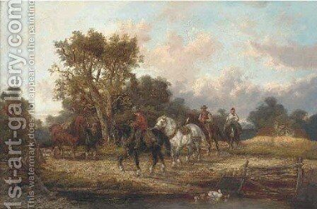 Horsemen by a stream by Alexis de Leeuw - Reproduction Oil Painting