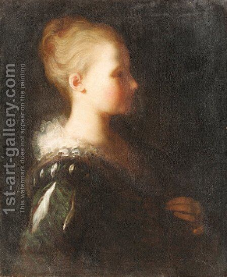 Young girl by Jean-Alexis Grimou - Reproduction Oil Painting