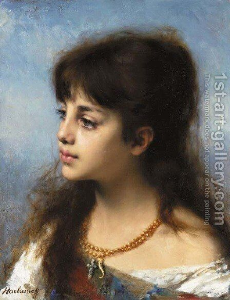 Portrait of a young girl 3 by Alexei Alexeivich Harlamoff - Reproduction Oil Painting