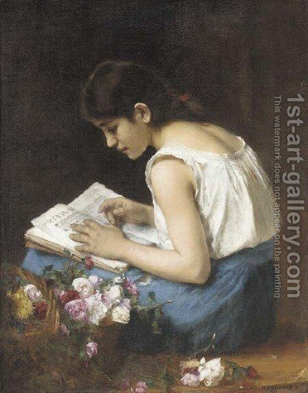 The Flower Girl 2 by Alexei Alexeivich Harlamoff - Reproduction Oil Painting