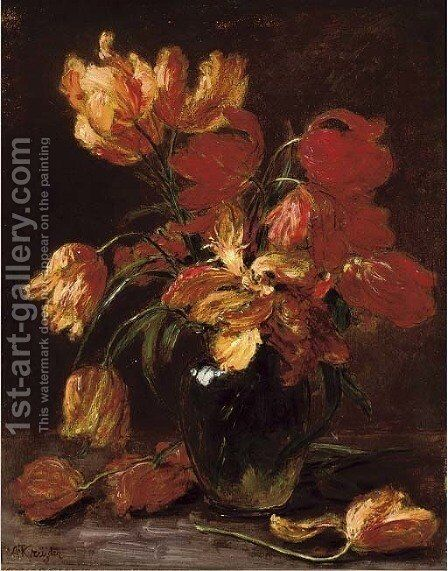 Parrot tulips in a glass vase by Alexis Kreyder - Reproduction Oil Painting