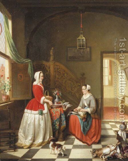 A lady giving instructions to her maid in a 17th century interior by Alexis van Hamme - Reproduction Oil Painting