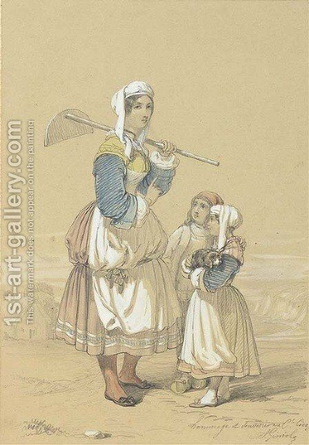 A peasant girl carrying a hoe accompanied by two children, the sea beyond by Alfred Andre Geniole - Reproduction Oil Painting