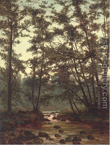 River Mole, near Box Hill, Surrey by Alfred Glendening - Reproduction Oil Painting