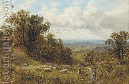 Young shepherd and maid in a landscape by Alfred Glendening - Reproduction Oil Painting