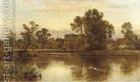 A mill near Southend, Kent by Alfred Glendening - Reproduction Oil Painting