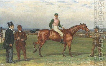 Old Joe, with jockey up, on a course steeplechasing by Alfred Charles Havell - Reproduction Oil Painting