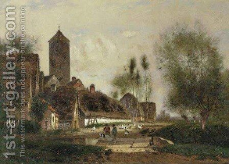 Near Rotterdam and Near Amsterdam two works by Alfred Cornelius Howland - Reproduction Oil Painting