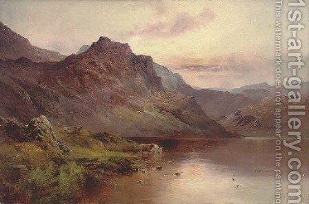 Cattle watering beside a highland loch by Alfred de Breanski - Reproduction Oil Painting