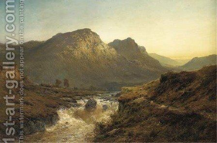 An Autumn Evening-'The Foyers', Invernesshire by Alfred de Breanski - Reproduction Oil Painting