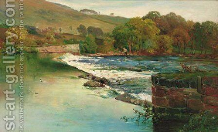 An angler fishing by a weir by Alfred de Breanski - Reproduction Oil Painting