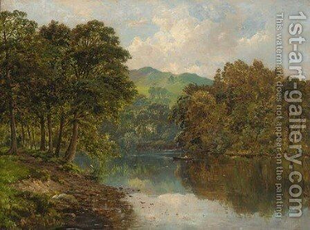 Crossing the tranquil river by Alfred de Breanski - Reproduction Oil Painting