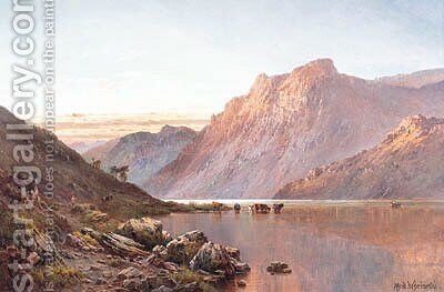 An Autumn Sunset, the Western Highlands by Alfred de Breanski - Reproduction Oil Painting