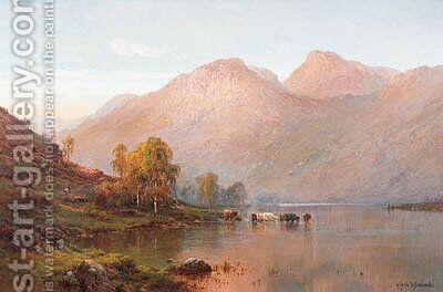 Loch Awe at Sunset by Alfred de Breanski - Reproduction Oil Painting