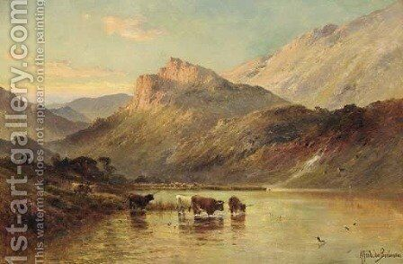 Cattle watering in a Mountainous Landscape by Alfred de Breanski - Reproduction Oil Painting