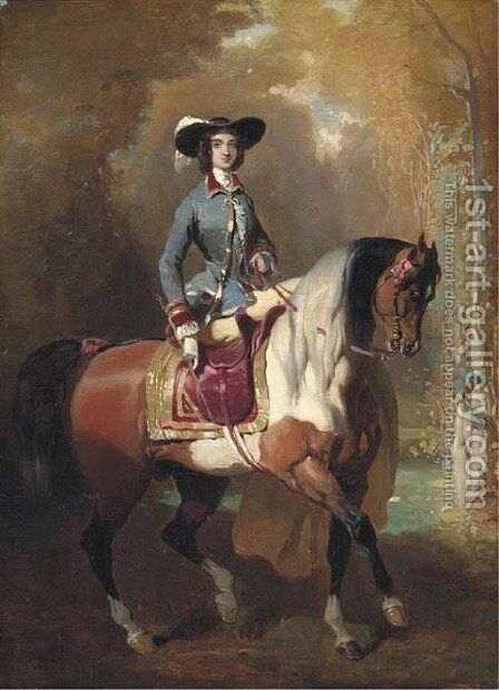 An elegant Lady out riding by Alfred Dedreux - Reproduction Oil Painting
