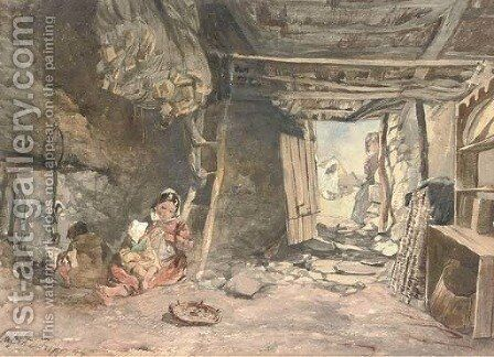 Interior of a fisherman's cabin, Galway by Alfred Downing Fripp - Reproduction Oil Painting