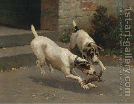 Terriers ratting by Alfred Duke - Reproduction Oil Painting