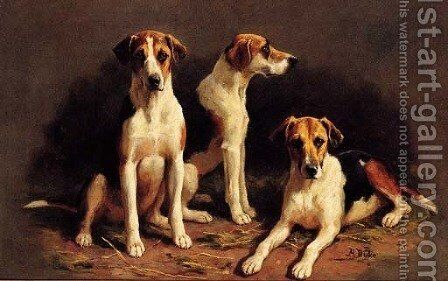 Three Foxhounds by Alfred Duke - Reproduction Oil Painting