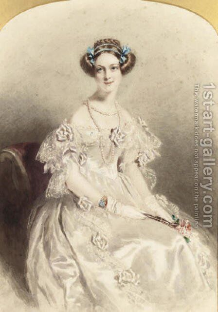 Portrait of a lady, three-quarter-length, dressed for a ball by Alfred-Edward Chalon - Reproduction Oil Painting