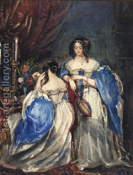 Two Ladies in a Dressing Room by Alfred-Edward Chalon - Reproduction Oil Painting