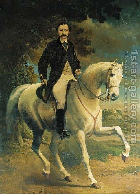 Equestrian Portrait of Henry Robert Clifton, on a grey horse, in a landscape, with Clifton Castle, Nottinghamshire, beyond by Alfred F. De Prades - Reproduction Oil Painting
