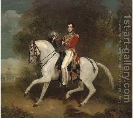 Portrait of an officer, traditionally identified as the Aide-de-Camp to Wellington, full-length by Alfred F. De Prades - Reproduction Oil Painting