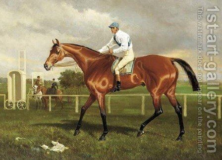 Robert the Devil with Jockey up on a racecourse by Alfred F. De Prades - Reproduction Oil Painting