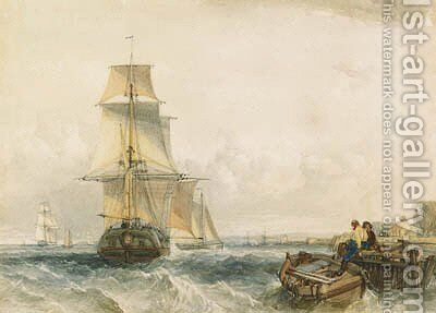Shipping, with figures on a jetty in the foreground by Alfred Gomersal Vickers - Reproduction Oil Painting