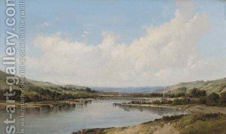 A river valley by Alfred Vickers - Reproduction Oil Painting