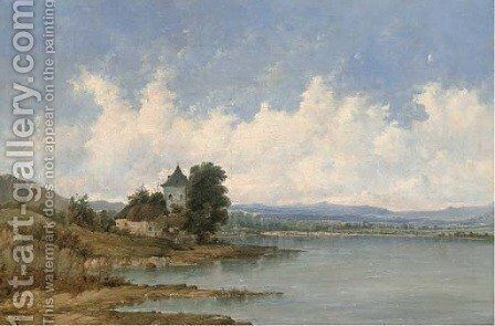 A tower beside a river by Alfred Vickers - Reproduction Oil Painting