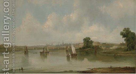 Traffic on the river, thought to be at Hull by Alfred Vickers - Reproduction Oil Painting