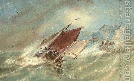 Fishermen before fortifications by Alfred Herbert - Reproduction Oil Painting