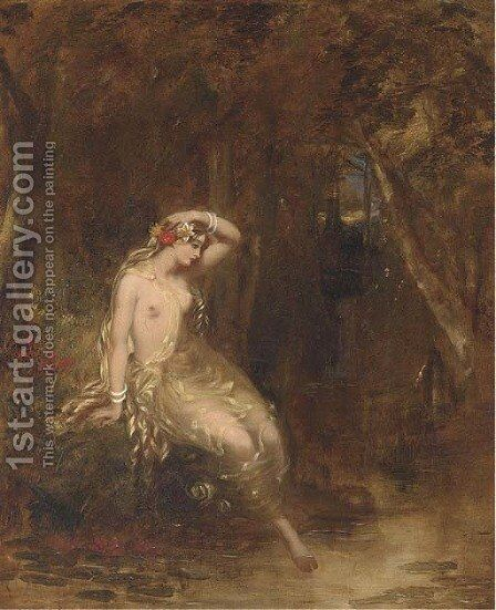 A nymph at the waters edge by Alfred Woolmer - Reproduction Oil Painting