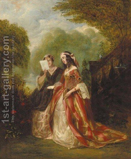 The love letter by Alfred Woolmer - Reproduction Oil Painting