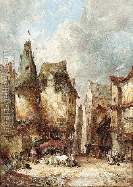 A market scene by Alfred Montague - Reproduction Oil Painting
