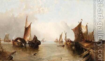 Dutch coastal scene by Alfred Montague - Reproduction Oil Painting