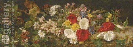 A spray of wildflowers on a bank by Alfred Morgan - Reproduction Oil Painting