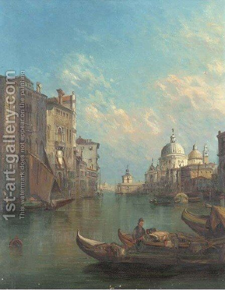On the Grand Canal towards Santa Maria Della Salute, Venice by Alfred Pollentine - Reproduction Oil Painting