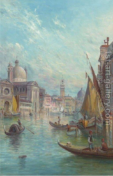 The Giudecca Canals by Alfred Pollentine - Reproduction Oil Painting